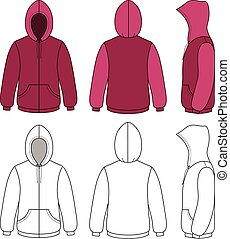 Unisex hoodie template - Hoodie sweater template front, side...