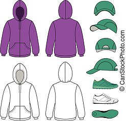 Unisex hoodie, cap, sneakers set vector illustration EPS8...