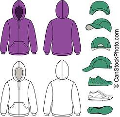 Unisex hoodie, cap, sneakers set vector illustration. EPS8...