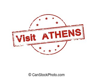 Visit Athens - Rubber stamp with text visit Athens inside,...
