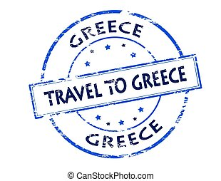 Travel to Greece - Rubber stamp with text travel to Greece...
