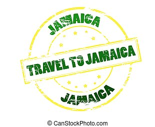 Travel to Jamaica - Rubber stamp with text travel to Jamaica...