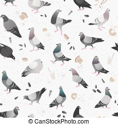 Pigeon in the City Pattern - Seamless pattern of cartoon...