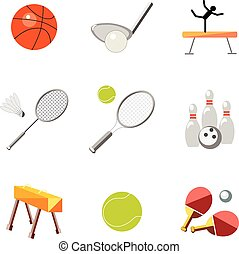 Set icons sports equipment on a white background