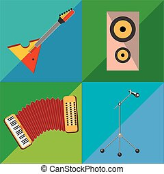 Set icons on musical instruments two-tone background in the...