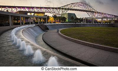 Corpus Christi Harbor Bridge and Water Gardens at Night -...