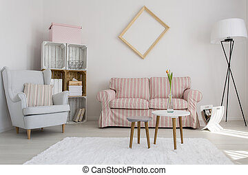 Pastel home decor - Shot of a cozy modern living room