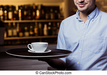 Would you like a cup of coffee? - Close shot of waiter's arm...