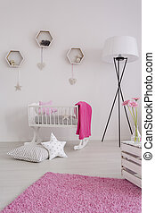 White and pure decor of a baby girl's room - Cute white...