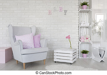 Eco-friendly baby room decor in white - Fragment of a baby...