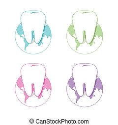 Isolated white tooth vector logo set. Round shape. Tooth...