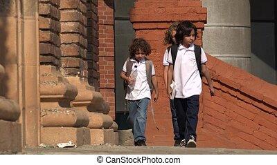Elementary School Kids Walking