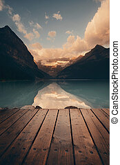 Banff National Park - Lake Louise with pier at sunrise in...