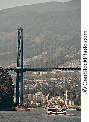 Lions Gate Bridge - Vancouver cruise ship and Lions Gate...