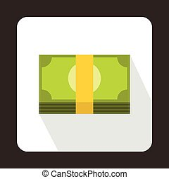 Swiss Franc banknote icon, flat style - Swiss Franc banknote...