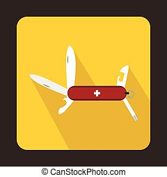 Swiss multipurpose knife icon, flat style - icon in flat...