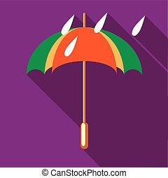 Colorful umbrella and rain drops icon - icon in flat style...