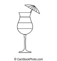 Layered cocktail with umbrella icon