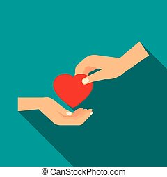 Hand gives heart icon, flat style - Hand gives heart icon in...