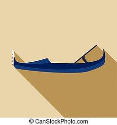 Gondola icon, flat style - Gondola icon in flat style with...