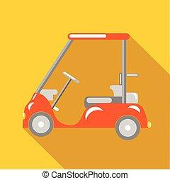 Orange golf car icon, flat style - Orange golf car icon in...