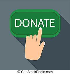Hand presses button to donate icon, flat style