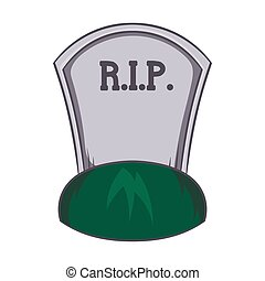 Grave rip icon, cartoon style - Grave rip icon in cartoon...