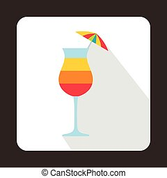 Colorful layered cocktail with umbrella icon - icon in flat...