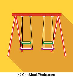 Two swings icon in flat style - icon in flat style on a...