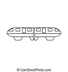 Monorail train icon, outline style - Monorail train icon in...