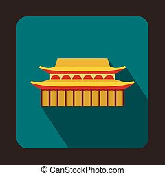 Buddha Toothe Relic Temple in Singapore icon in flat style...