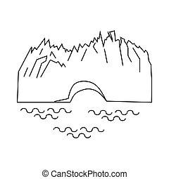 Perito Moreno glacier icon, outline style - Perito Moreno...