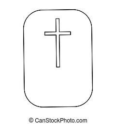 Cross, Christian faith symbol icon, outline style