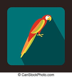 Colorful parrot icon in flat style - icon in flat style on a...