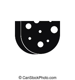 Piece of Swiss cheese icon, simple style