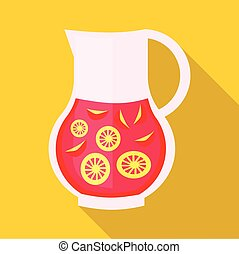 Drink sangria icon, flat style