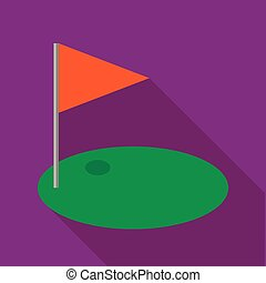 Red golf flag icon, flat style - Red golf flag icon in flat...