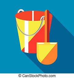 Bucket and shovel for childrens sandbox icon in flat style...