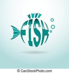 logotipo, peixe, bola