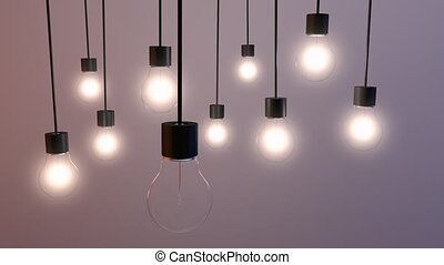 Bulbs for the background - Scene with working lights for...
