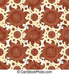 Vector seamless pattern in Indian henna tattoo style -...