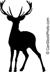 Black silhouette of a deer in front of the moon Hunting...