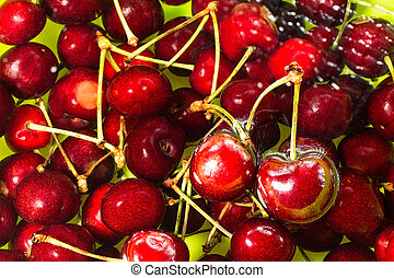 cherries immersed in water