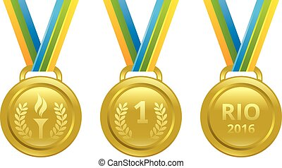 Set vector gold medals with a ribbon in the colors of the Brazilian flag