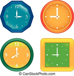Set of various vector clocks showing different time