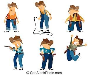 Six cowboys set - Vector illustration of a six cowboys set