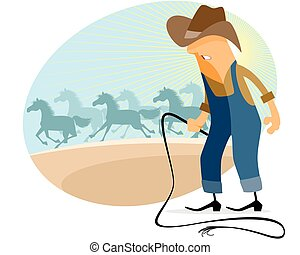 Cowboy with herd - Vector illustration of a cowboy with herd