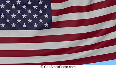Waving textile textured flag of the USA, seamless loop...