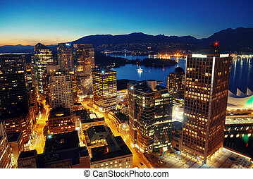 Vancouver rooftop view with urban architectures at dusk
