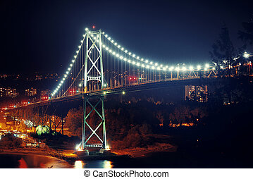Vancouver city night - Vancouver Lions Gate Bridge night...